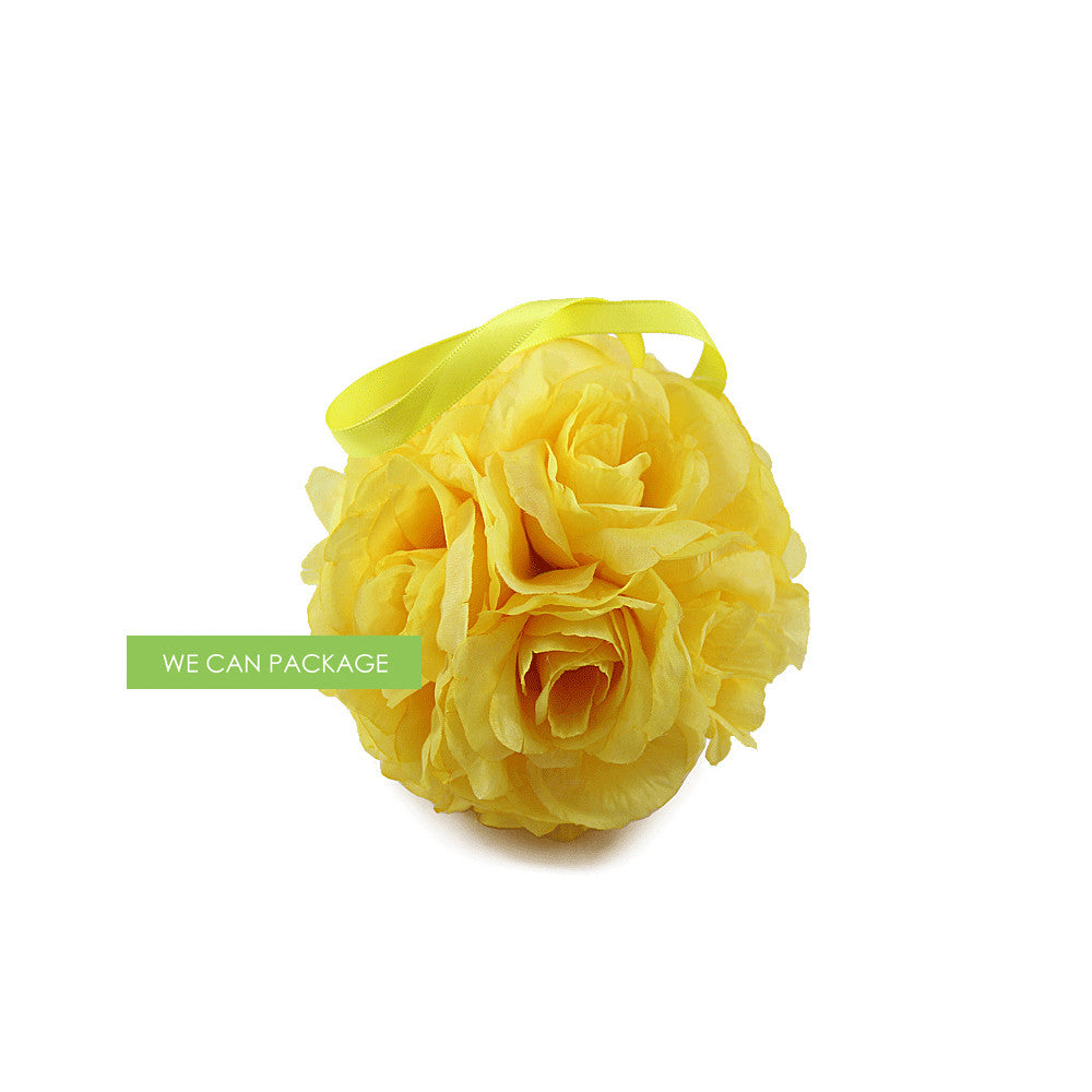 4 Inches Yellow Kissing Ball Silk Rose Flower Ball