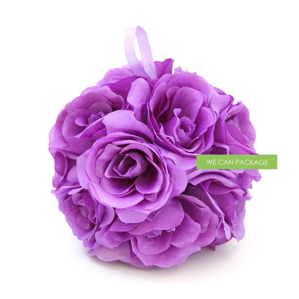 7 Inches White Flower Ball: 7 Inches Purple Pomander Ball