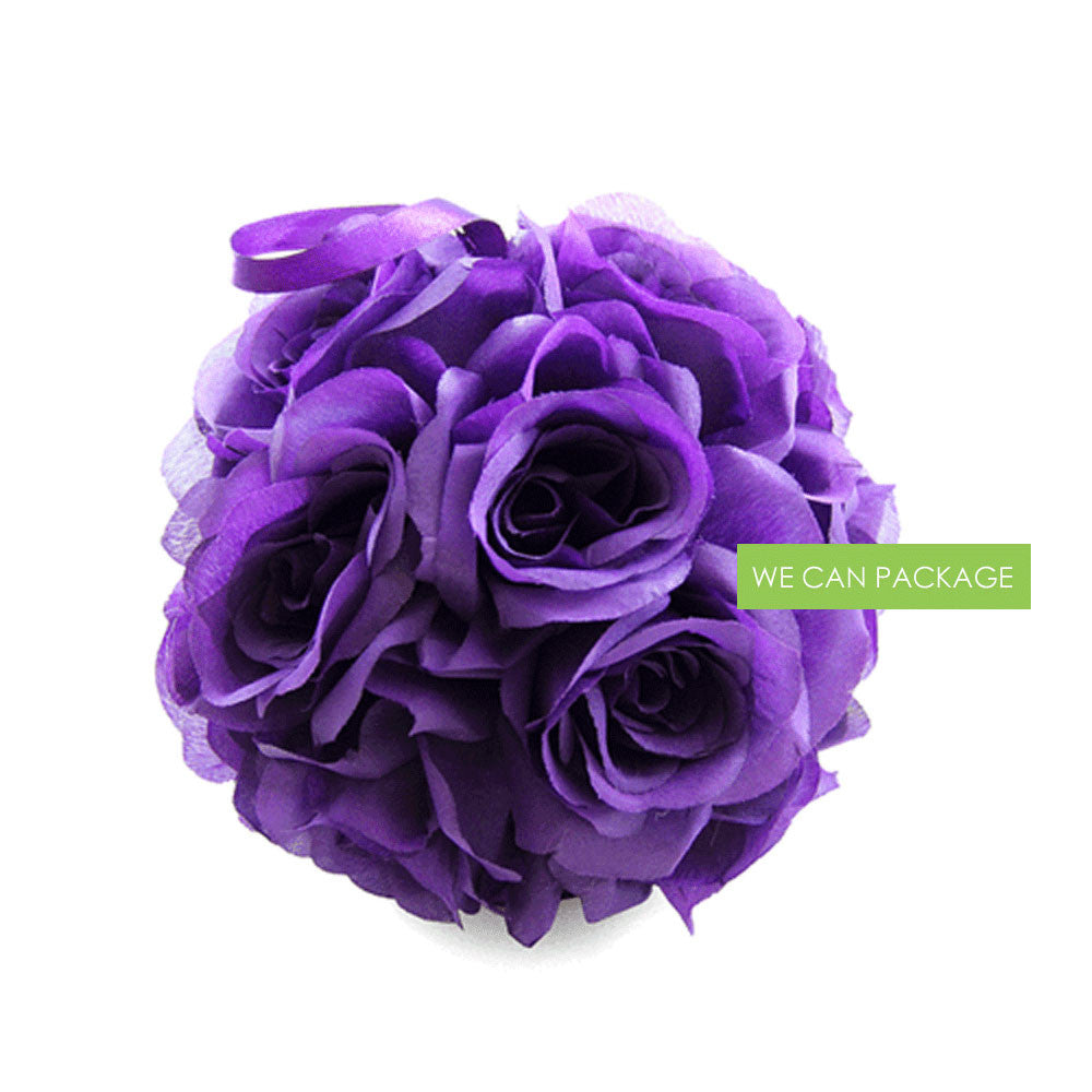 7 Inches White Flower Ball: 7 Inches Dark Purple Kissing Balls