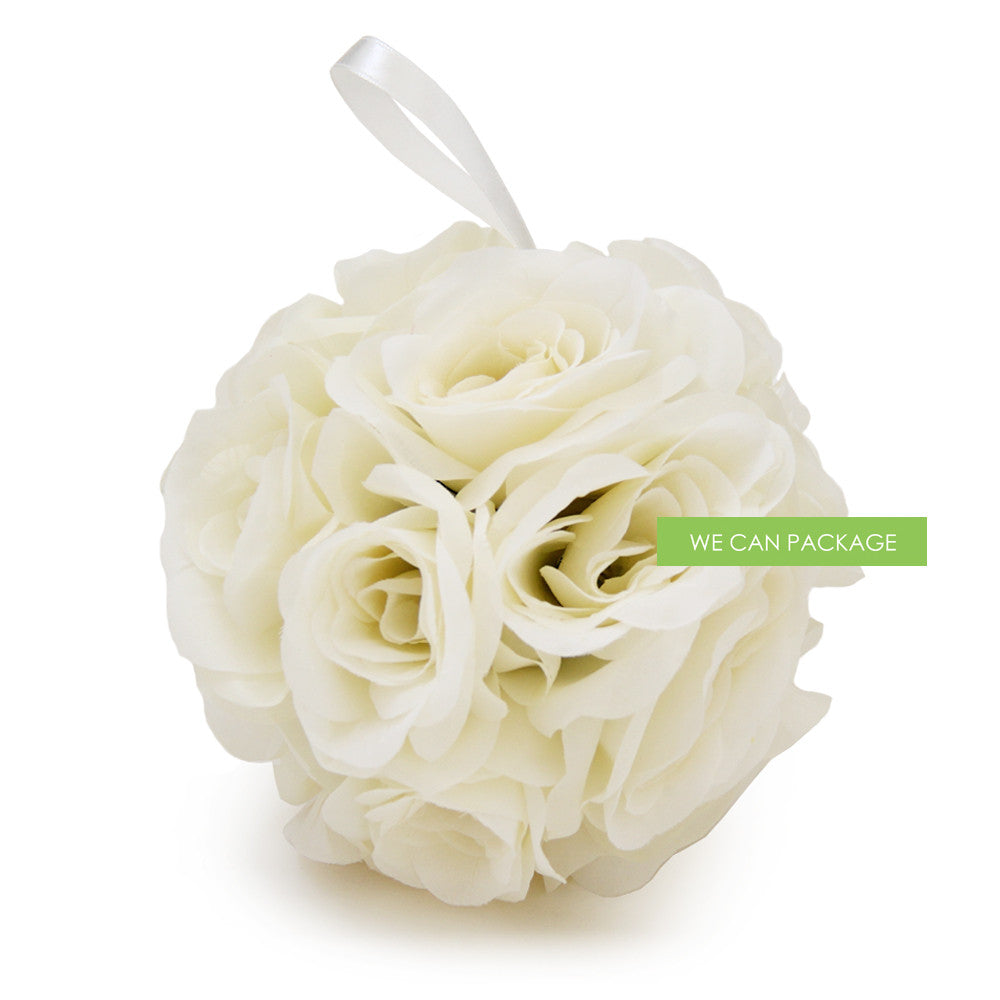 7 Inches Ivory Flower Ball Wedding Kissing Ball