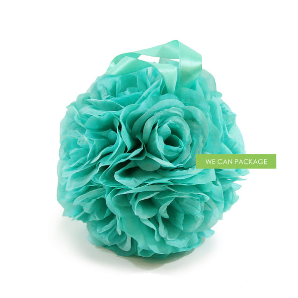7 Inches White Flower Ball: 7 Inch Mint Green Kissing Ball