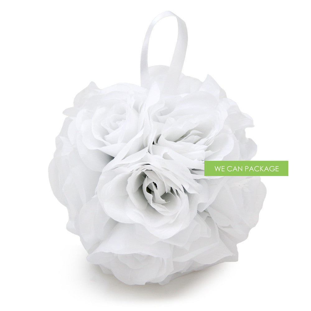 7 Inches White Flower Ball Silk Rose Kissing Ball