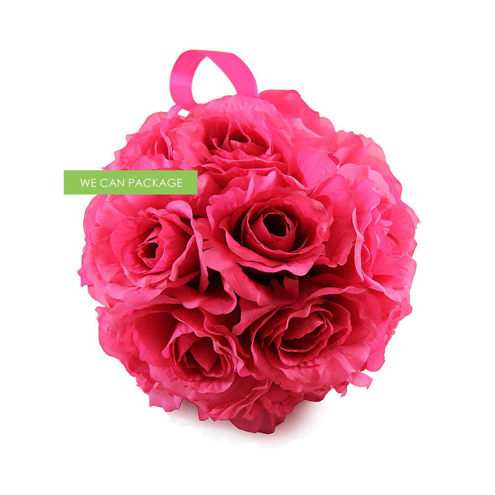 9 Inches Hot Pink Flower Pomander Hot Pink Rose Ball