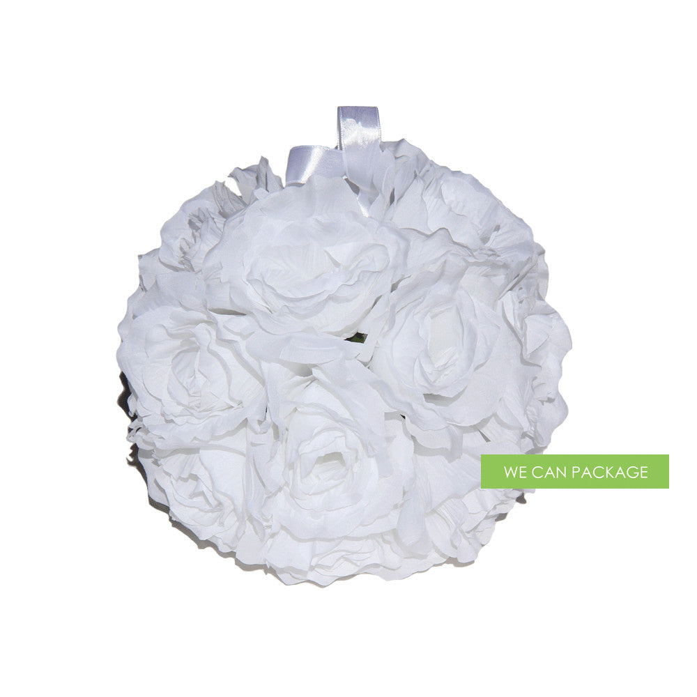 9 Inches White Rose Flower Ball White Kissing Ball