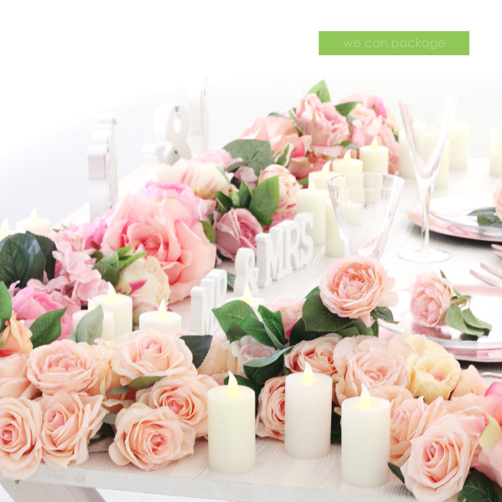 Blush pink flower runner we can package blush pink flower table decor mightylinksfo