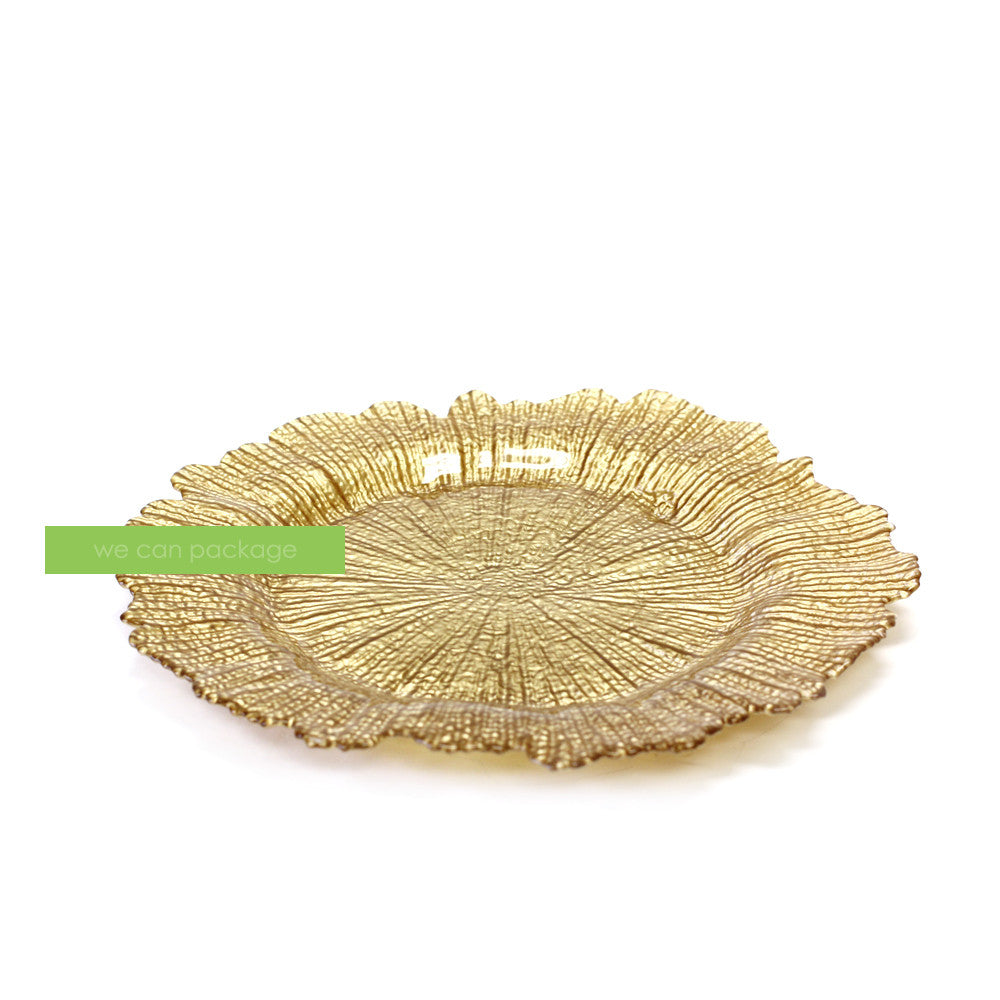This Placesetting Is To Die Gold Charger Champagne: Champagne Flower Charger Plates