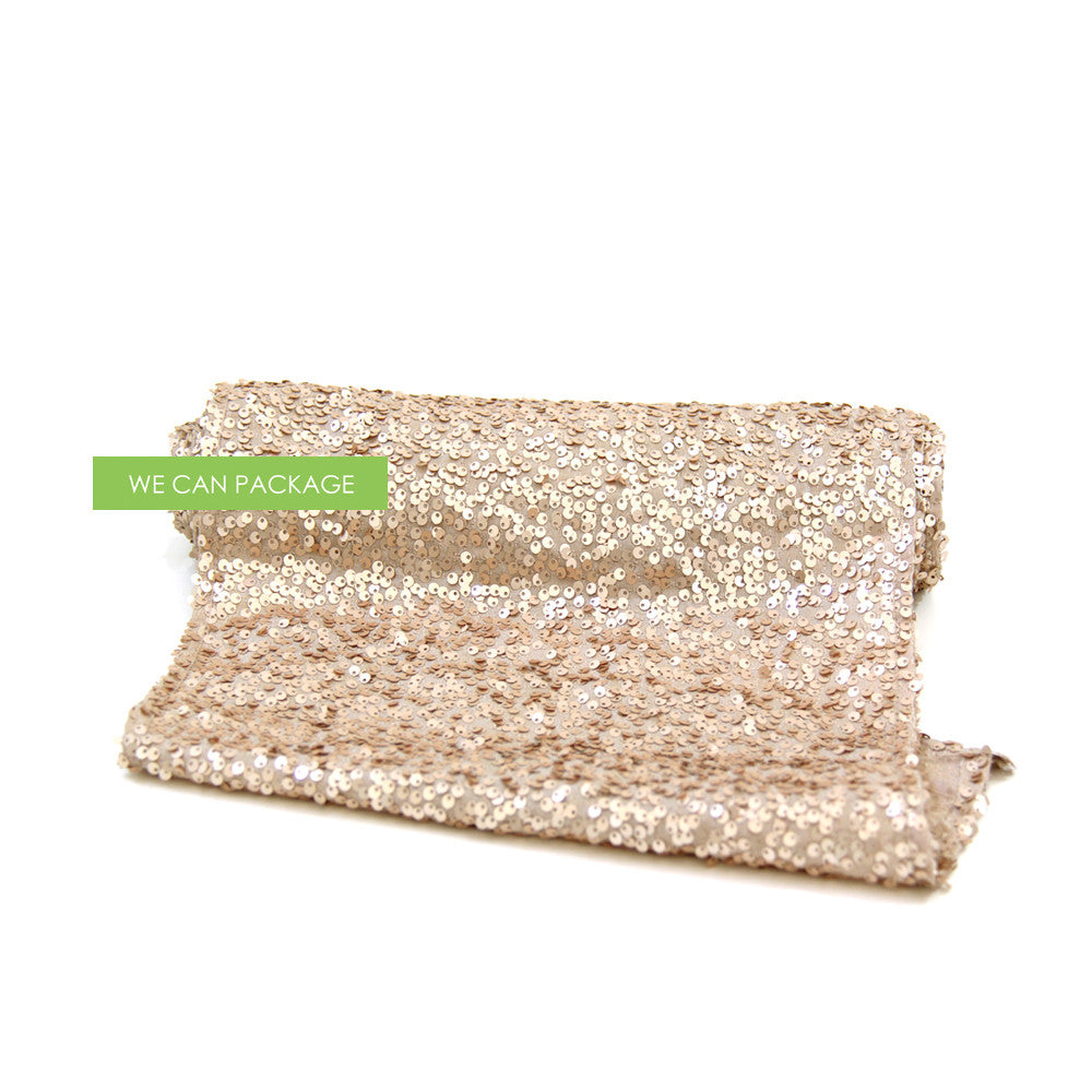 Champagne sequin table runner by we can package for Champagne seguin