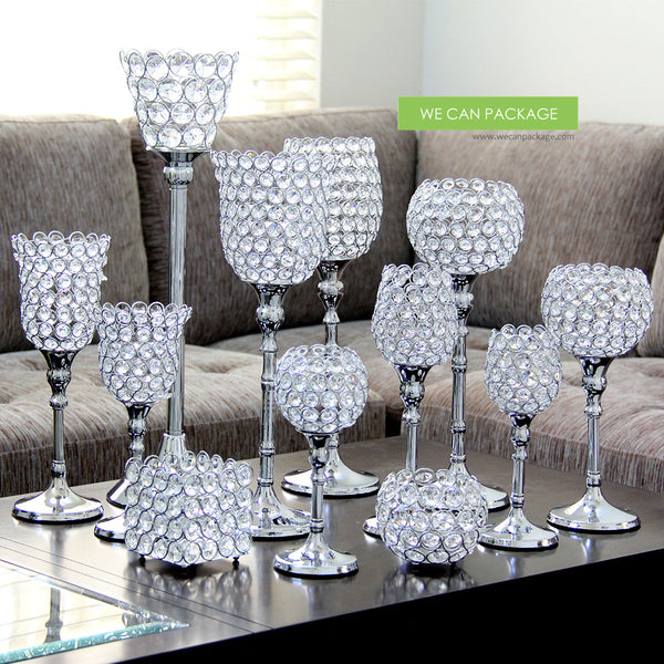 Tall Crystal Candle Holder Crystal Pedestal Vase