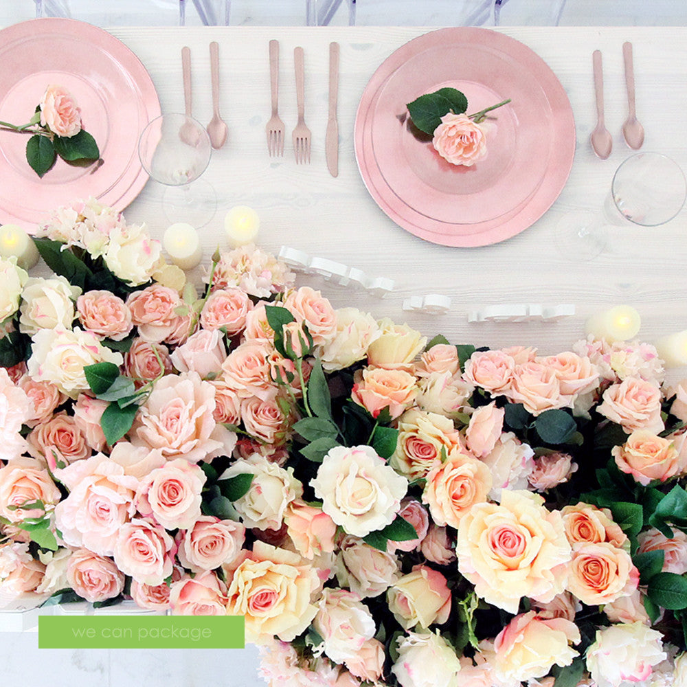 Blush Pink Flower Table Runner We Can Package