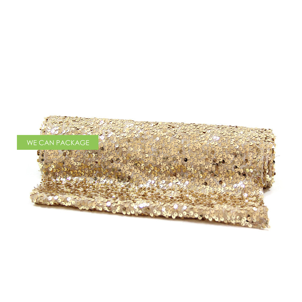 Gold Sequin Table Runner For Glam Tablescape