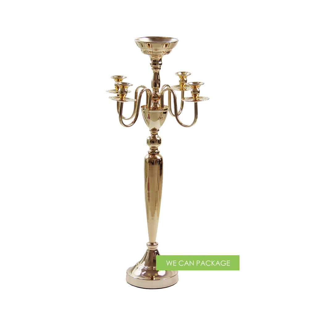 Gold candelabra for tall wedding centerpiece decoration