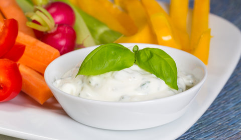 Paleo pesto mayo served with vegetables crudites