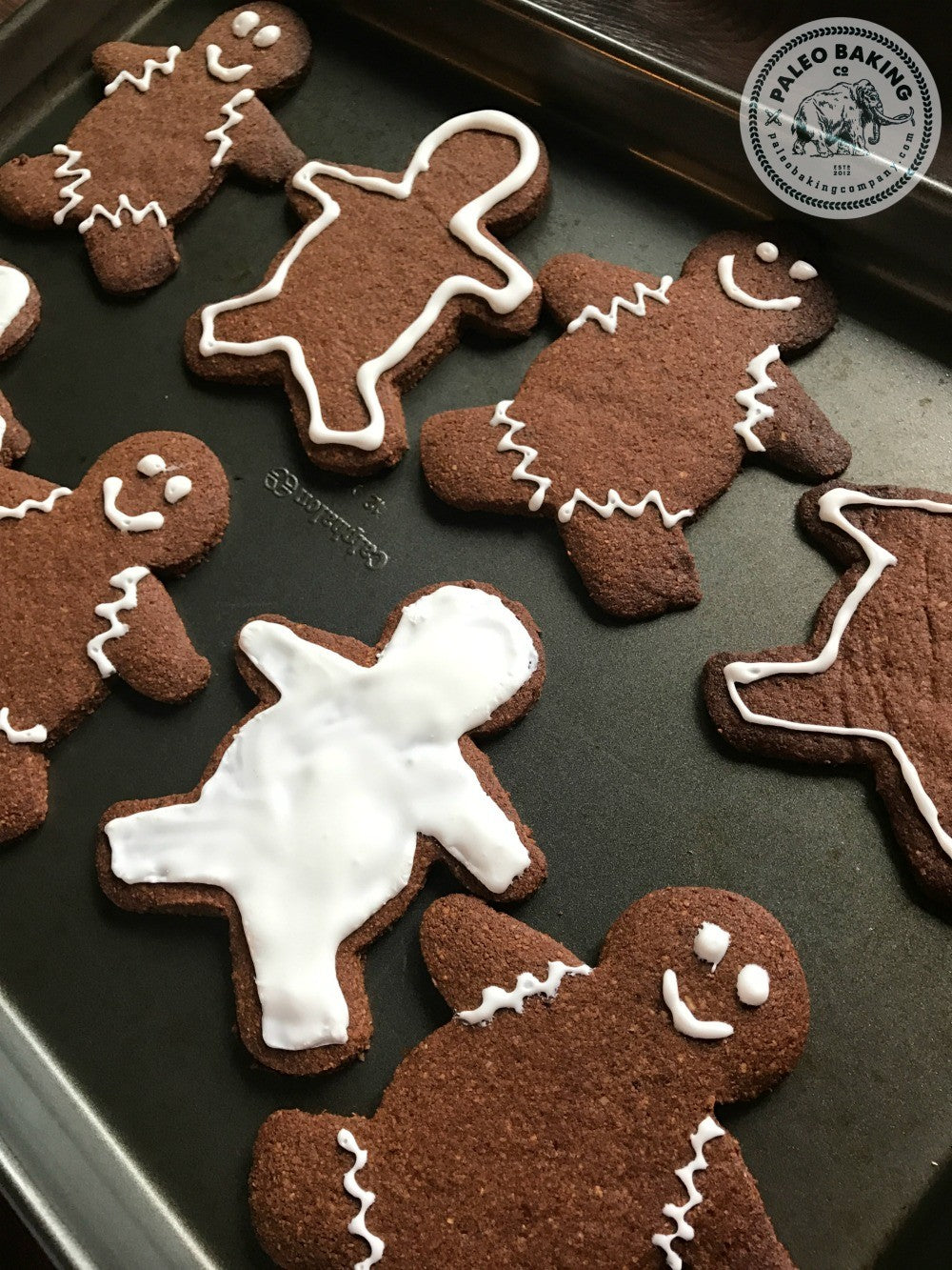 Decorated paleo gingerbread cookies