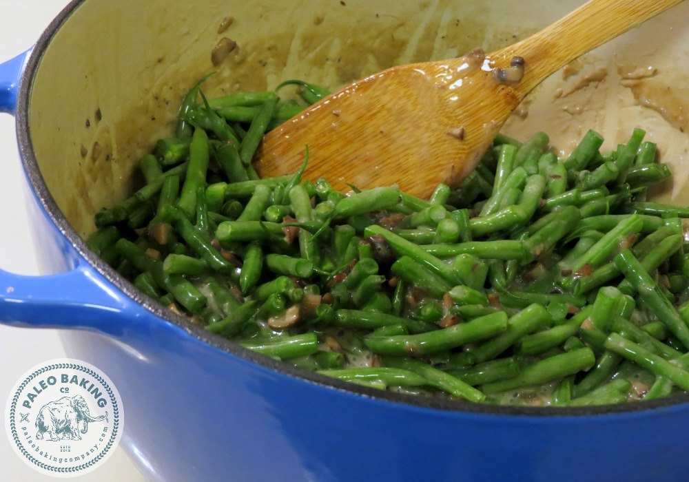 Paleo green bean casserole in a dutch oven