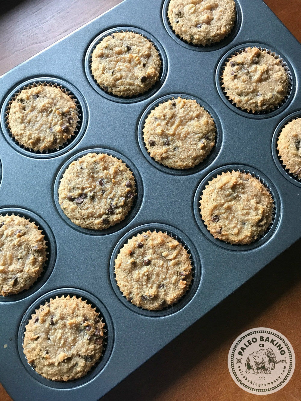 Paleo Cinnamon Chocolate Chip Muffins in a pan