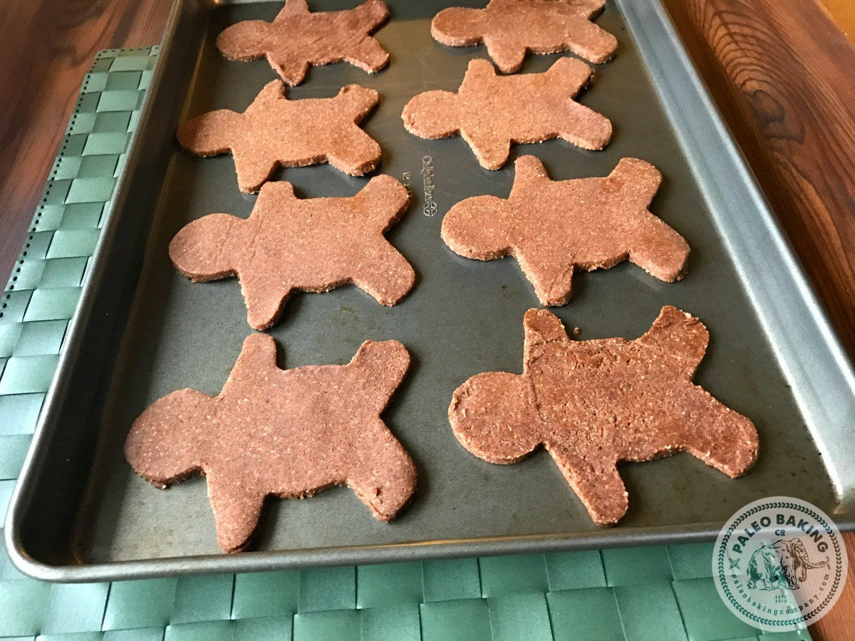 Paleo gingerbread cookies on a cookie sheet