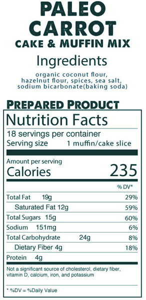Paleo Carrot Cake & Muffin Mix prepared product nutrition facts