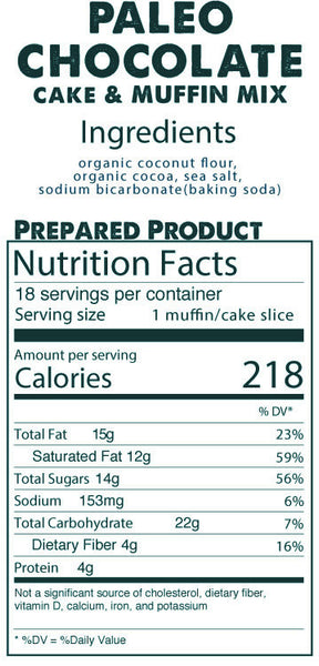 Paleo Chocolate Cake & Muffin Mix prepared product nutrition facts