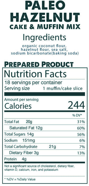 Paleo Hazelnut Cake & Muffin Mix prepared product nutrition facts