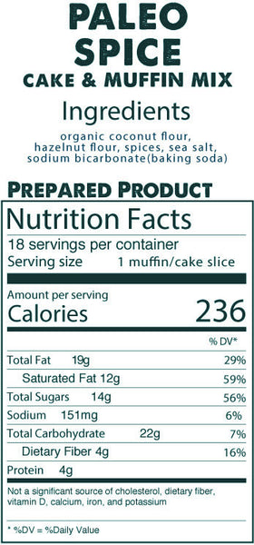 Paleo Spice Cake & Muffin Mix prepared product nutrition facts