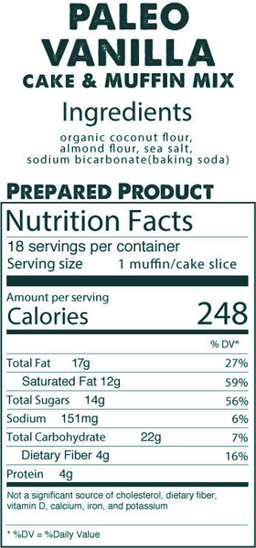 Paleo Vanilla Cake & Muffin Mix prepared product nutrition facts
