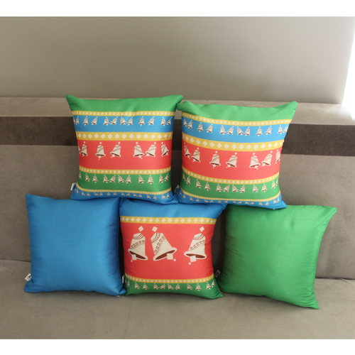 Bell Design Cushion Cover Set of 5 (12 x 12 inch )
