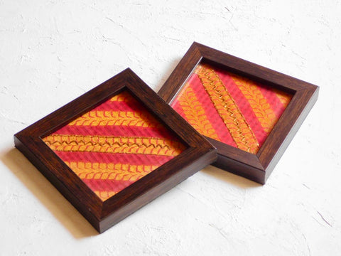 Handcrafted coaster set 4x4""