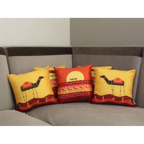 Camel Design Cushion Cover Set of 5 (12 x 12 inch)