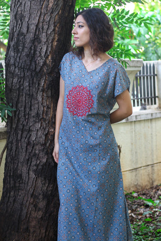 Ajrakh blue long dress