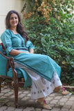 Handloom sea green with black border embroidery