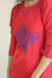 Red Top Cotton with blue embroidery work.