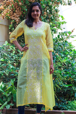 Kota cotton yellow straight kurta