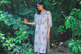 Grey Check Long Kurta Handloom
