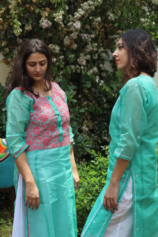 Organdi sea green kurta