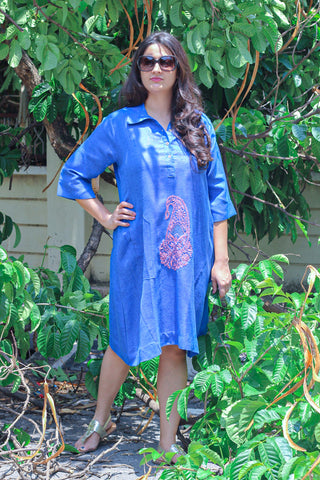 Blue handloom top red embroidery work