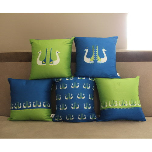 Peacock Design Cushion Cover Set of 5 (16 x 16 inch)