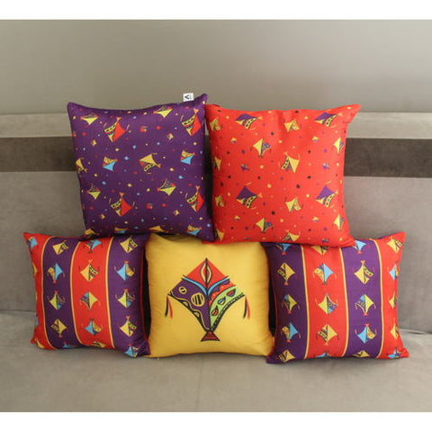 Kite Design Cushion Cover Set of 5 (12 x 12 inch )