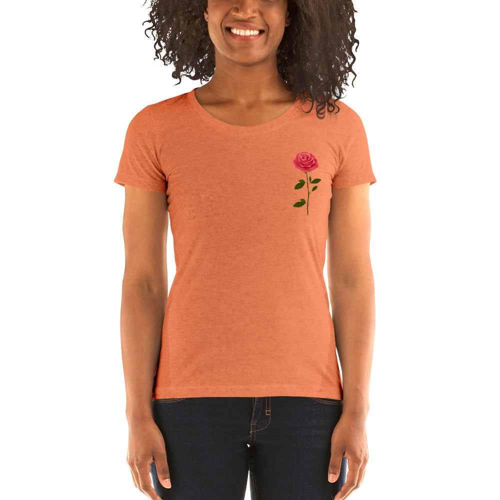 Ladies' short sleeve t-shirt with a rose design Frank Libéria