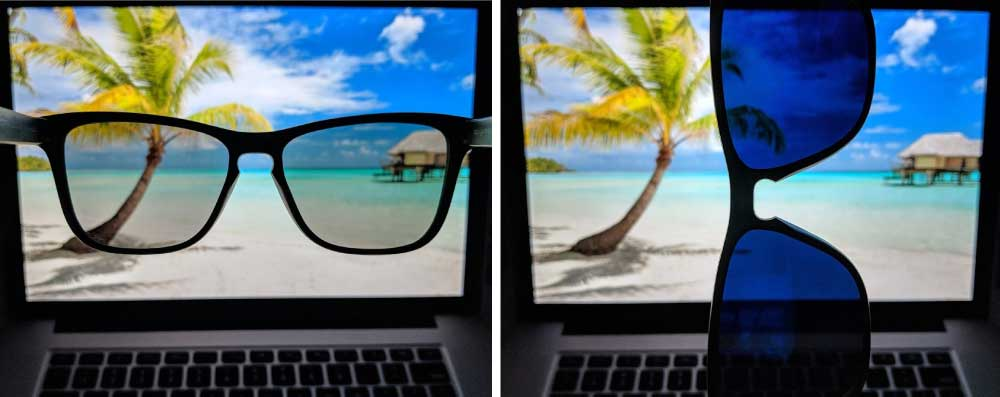 MagLock Sunglasses have polarized lenses which can be demonstrated with a laptop screen