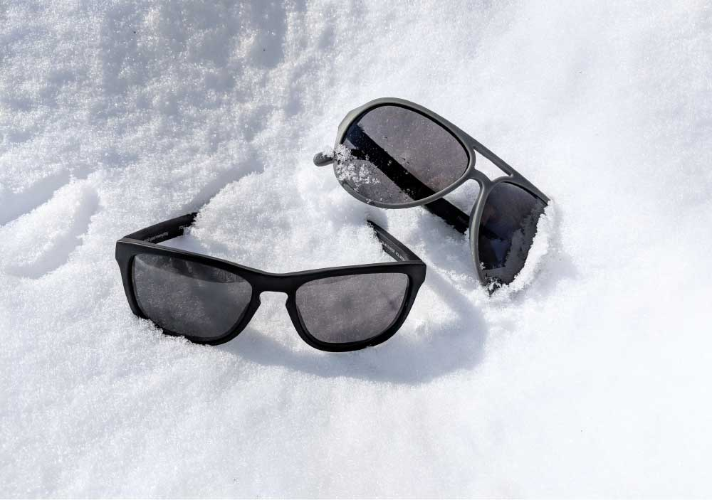 MagLock Sunglasses are polarized to reduce glare and eye strain in snowy conditions