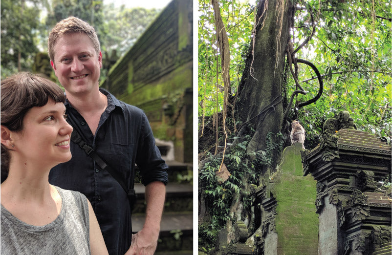 Lindsay and Nate and two monkeys in the Sacred Monkey Forest in Ubud, Bali, Indonesia