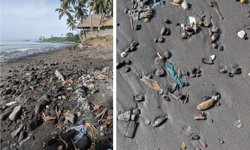 Trash on the beaches of East Bali