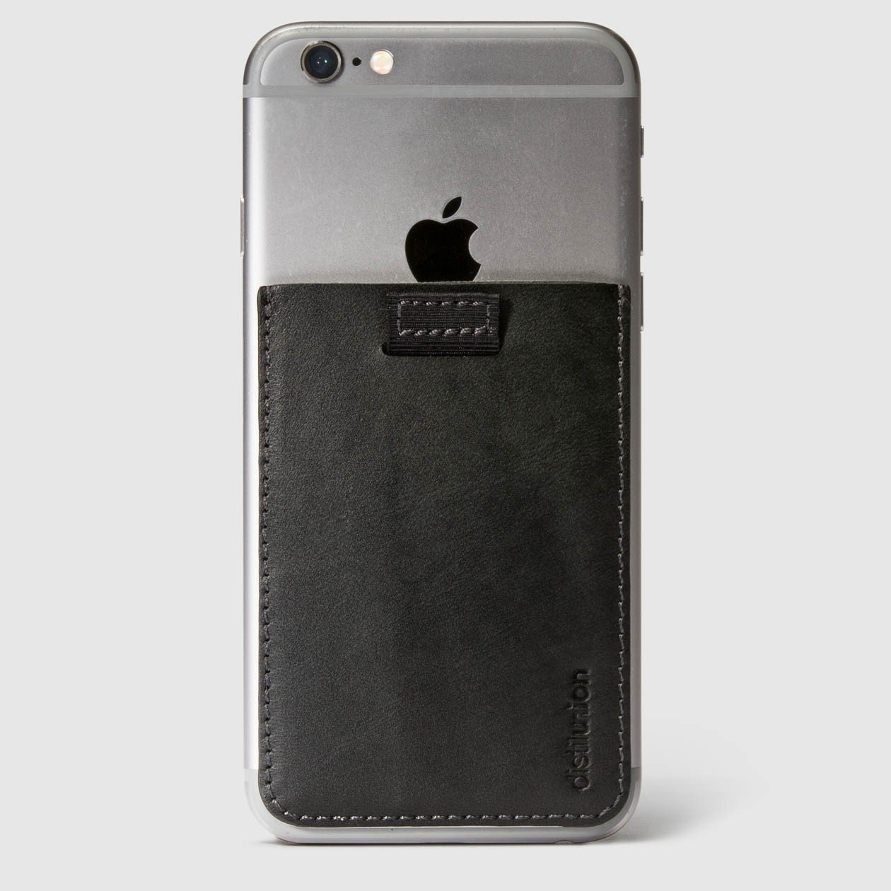 Genuine leather stick on phone wallet distil union distil union wally junior stick on phone wallet with wally pull tab in black leather fandeluxe Images