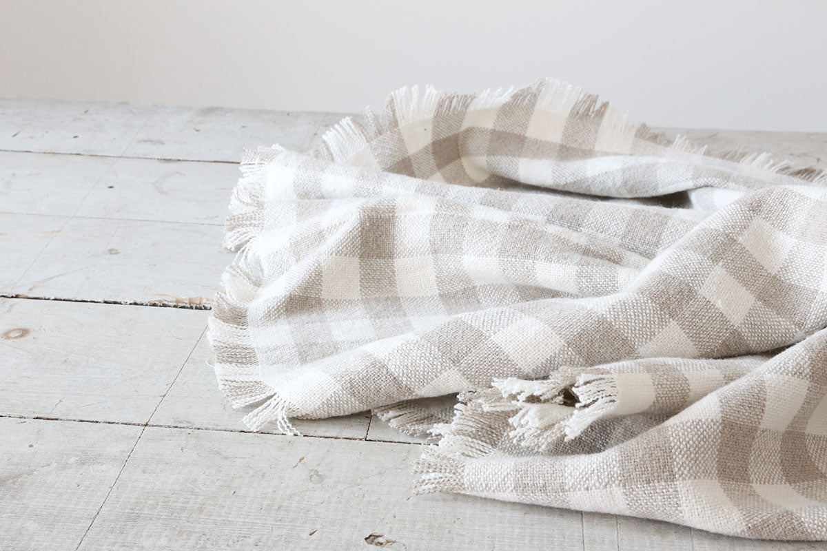 Natural + White Check Tablecloth