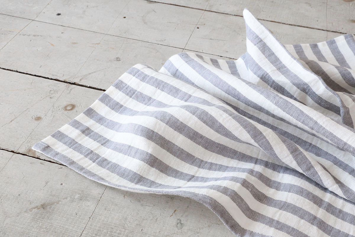 White + Grey Stripe Tea Towel