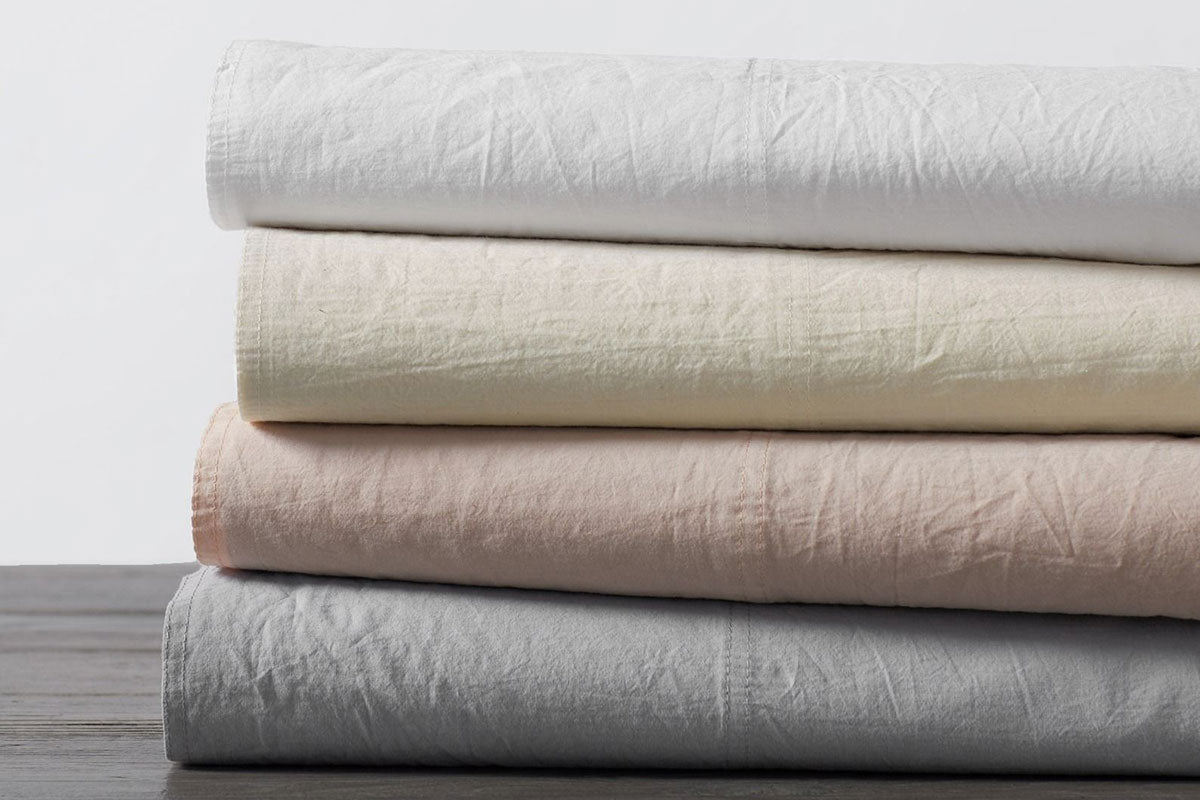White Organic Crinkled Sheet Set