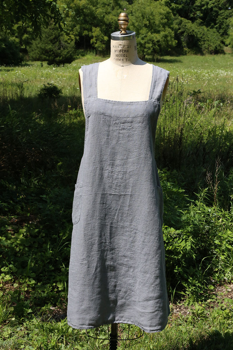 Real Grey Linen Apron