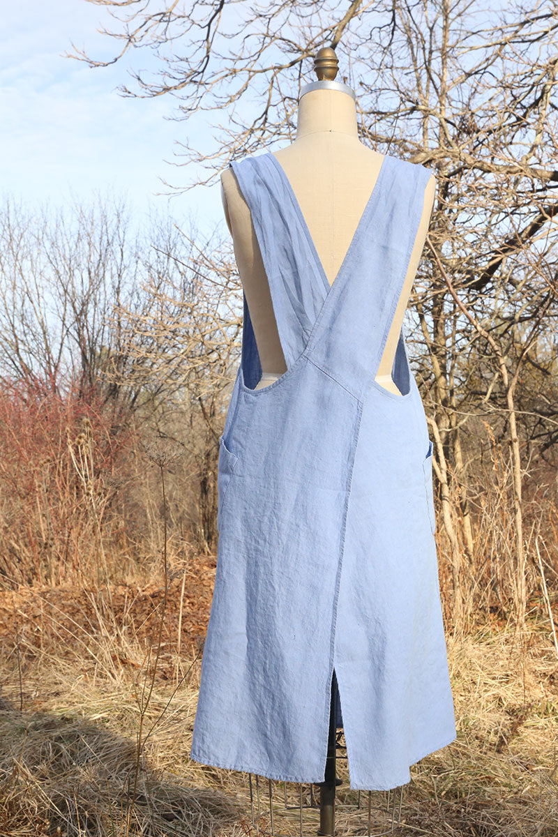 Ice Blue Linen Apron