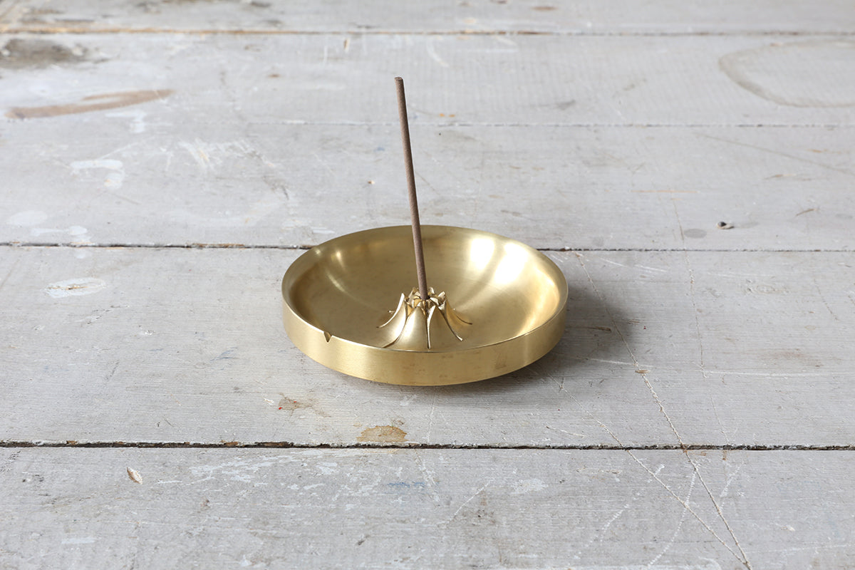 Natural Brass Agave Basin Incense Burner