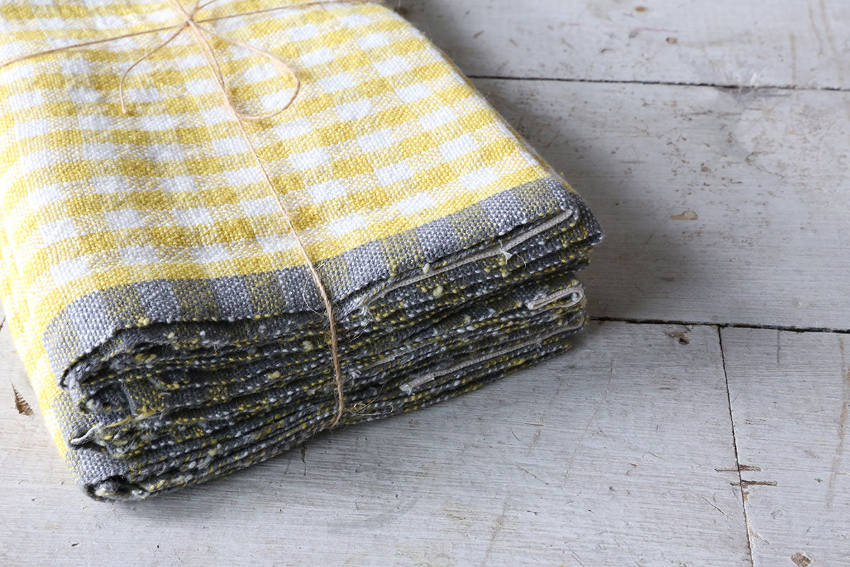 Dijon & Grey Gingham Napkins